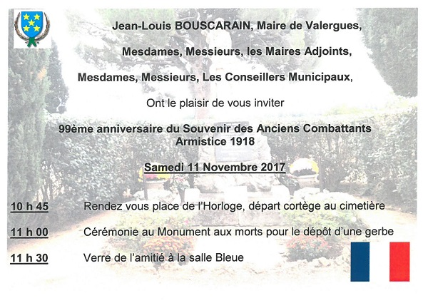 ARMISTICE 1918 invitation 11 11 2017