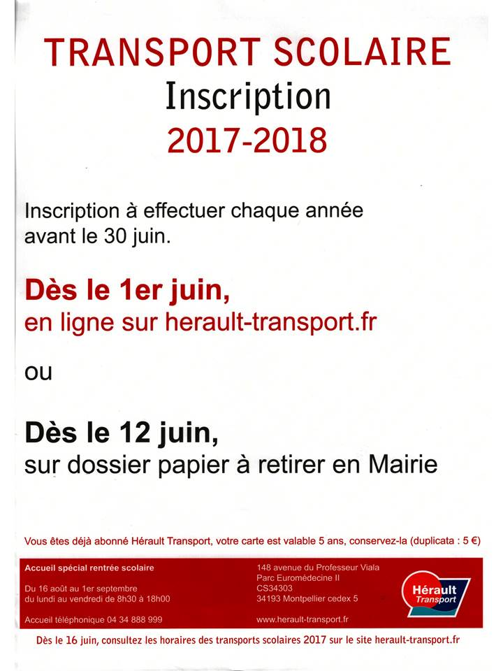 inscription tranport scolaire 2017 2018