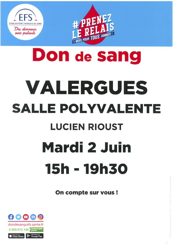 Affiche don du sang Valergues juin 2020 600