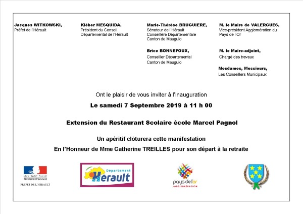 Inauguration extension restaurant scolaire du 07 09 2019